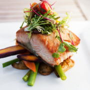 Seared Sockeye Salmon, Heirloom Carrots, Fingerling Potatoes