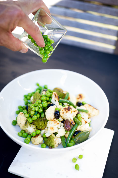 Roasted Cauliflower, Peas, Olives, Green Beans