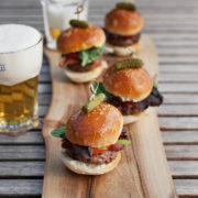 Heritage Beef Sliders, Pancetta, Roasted Garlic Ailoli