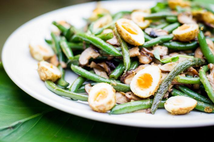 Green Beans, Spiced Quail Eggs, Shiitake Mushroom and Miso Vinaigrette